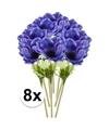 8x blauwe kunst anemoon tak 47 cm