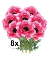 8x cerise anemoon kunstbloemen 47 cm