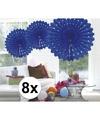 8x decoratie waaier blauw 45 cm