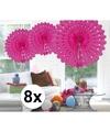 8x decoratie waaier fuchsia 45 cm