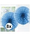 8x decoratie waaier licht blauw 45 cm
