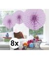 8x decoratie waaier lila 45 cm
