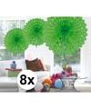 8x decoratie waaier lime groen 45 cm