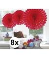 8x decoratie waaier rood 45 cm