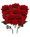 8x rode rozen deluxe kunstbloemen 31 cm