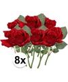 8x rode rozen kunstbloemen 30 cm