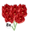 8x rode tulp deluxe kunstbloemen 25 cm