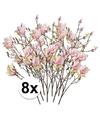 8x roze magnolia kunstbloemen tak 105 cm