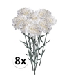 8x witte anjer kunstbloemen tak 65 cm