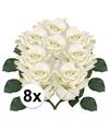 8x witte roos deluxe kunstbloemen 31 cm