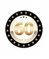 Bierviltjes zwart met goud 60 jaar