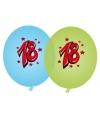 Blauwe en groene ballonnen 18 jaar
