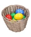 Bruin paasmandje met gekleurde eieren 14 cm