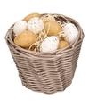 Bruin paasmandje met plastic kwartel eieren 14cm