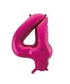 Cijfer 4 folie ballon roze van 92 cm