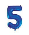 Cijfer 5 folie ballon blauw van 92 cm