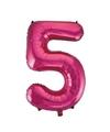 Cijfer 5 folie ballon roze van 92 cm