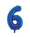 Cijfer 6 folie ballon blauw van 92 cm