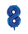 Cijfer 8 folie ballon blauw van 92 cm