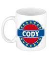 Cody naam koffie mok beker 300 ml