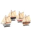 Decoratie zeilboot model jacht blauw wit 23 cm