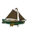 Decoratie zeilboot nederlandse tjalk groen 24 cm