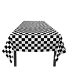 Finish tafelkleed zwart wit geblokt 130 x 180 cm