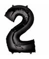 Folie ballon cijfer 2 zwart
