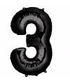 Folie ballon cijfer 3 zwart
