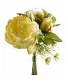 Geel kunstbloemen boeket 20 cm pioenroos dille