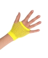 Gele grunge gothic korte visnet handschoenen voor volwassenen