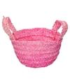 Gevlochten opbergmandje roze 15 x 18 cm