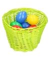 Groen paasmandje met gekleurde eieren 14 cm