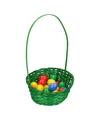 Groen paasmandje met gekleurde eieren 23cm