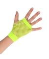 Groene grunge gothic korte visnet handschoenen voor volwassenen