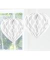 Feestversiering wit decoratie hart 30 cm