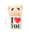 I love you mok met knuffel varken big