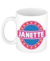 Janette naam koffie mok beker 300 ml