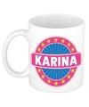 Karina naam koffie mok beker 300 ml