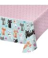 Katten tafelkleed roze 137 x 259 cm