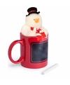 Kerstmok rode mok met sneeuwpop knuffeltje