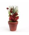 Kerstster kunstbloemen in bloempot rood