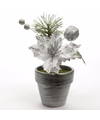 Kerstster kunstbloemen in bloempot zilver