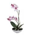 Kunst orchidee in pot 25 cm roze wit