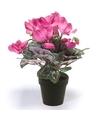 Kunstplant cyclaam roze in zwarte pot 30 cm