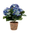 Kunstplant hortensia blauw in oude ronde terracotta pot 37 cm