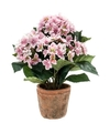 Kunstplant hortensia roze in oude ronde terracotta pot 37 cm