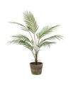 Kunstplant palm groen in oude ronde terracotta pot 70 cm