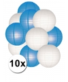 Feestartikelen lampionnen blauw/witte 10x