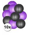 Feestartikelen lampionnen zwart/paarse10x